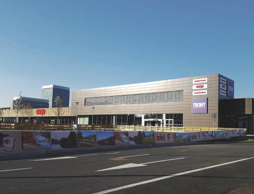New commercial building with car park and urban development works
